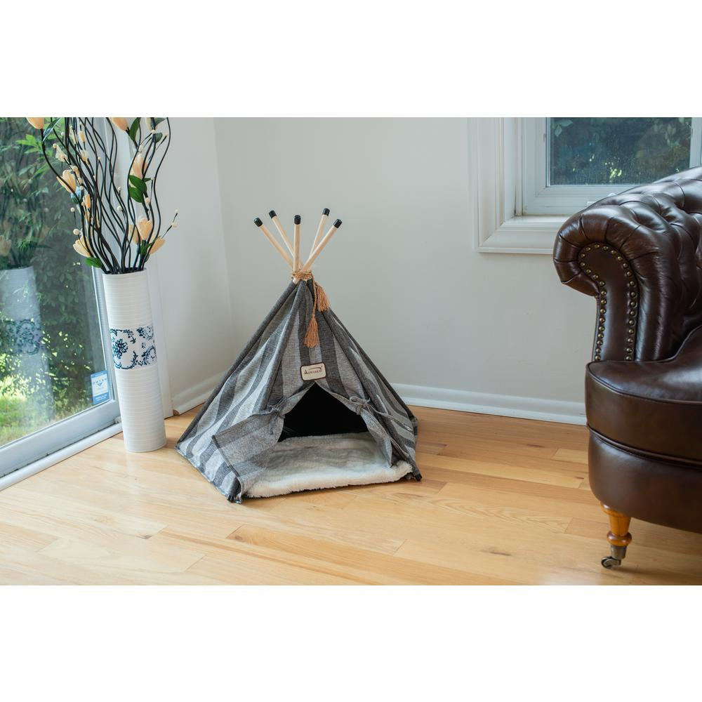 Armarkat Cat Bed Model C56HBS/SH, Teepee Style with Striped Pattern. Picture 2