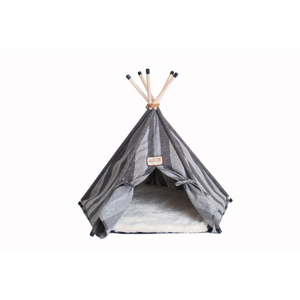 Armarkat Cat Bed Model C56HBS/SH, Teepee Style with Striped Pattern. Picture 1