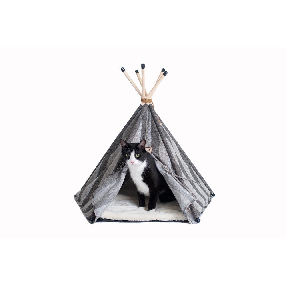 Armarkat Cat Bed Model C56HBS/SH, Teepee Style with Striped Pattern. Picture 3