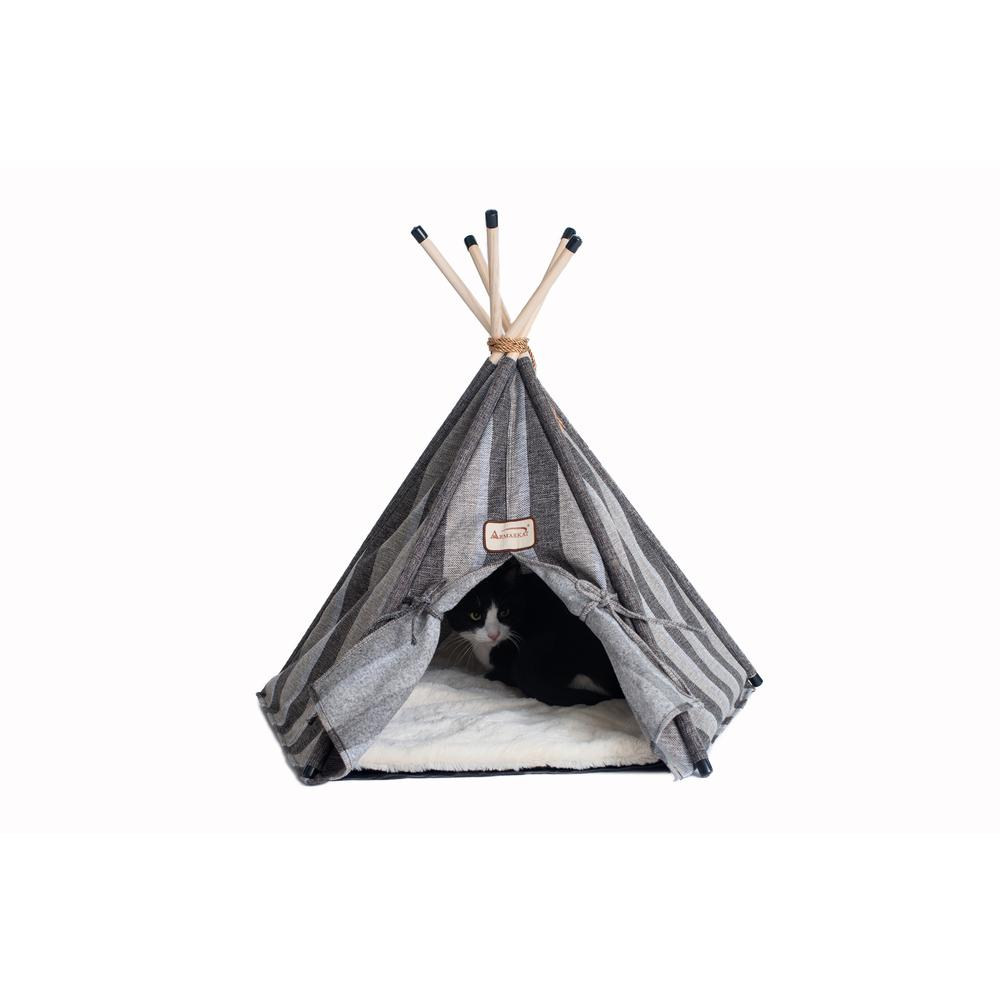 Armarkat Cat Bed Model C56HBS/SH, Teepee Style with Striped Pattern. Picture 4