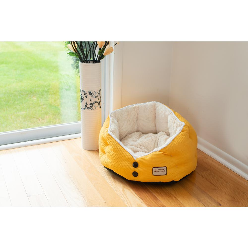 Armarkat Cat Bed Model C75HMB/MH Gold Waffle and White. Picture 6