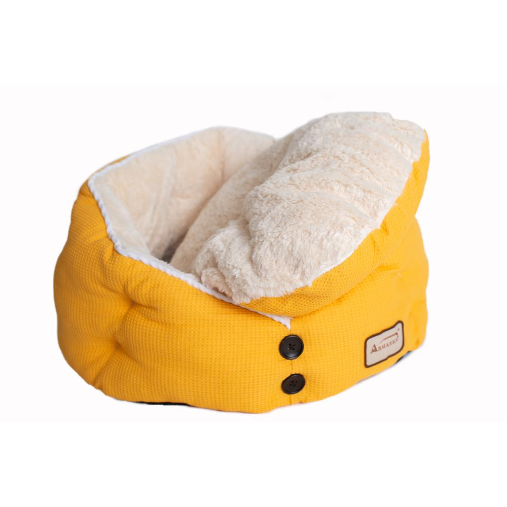 Armarkat Cat Bed Model C75HMB/MH Gold Waffle and White. Picture 4