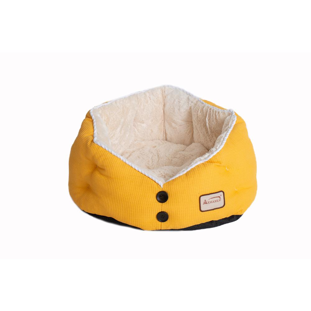 Armarkat Cat Bed Model C75HMB/MH Gold Waffle and White. Picture 3