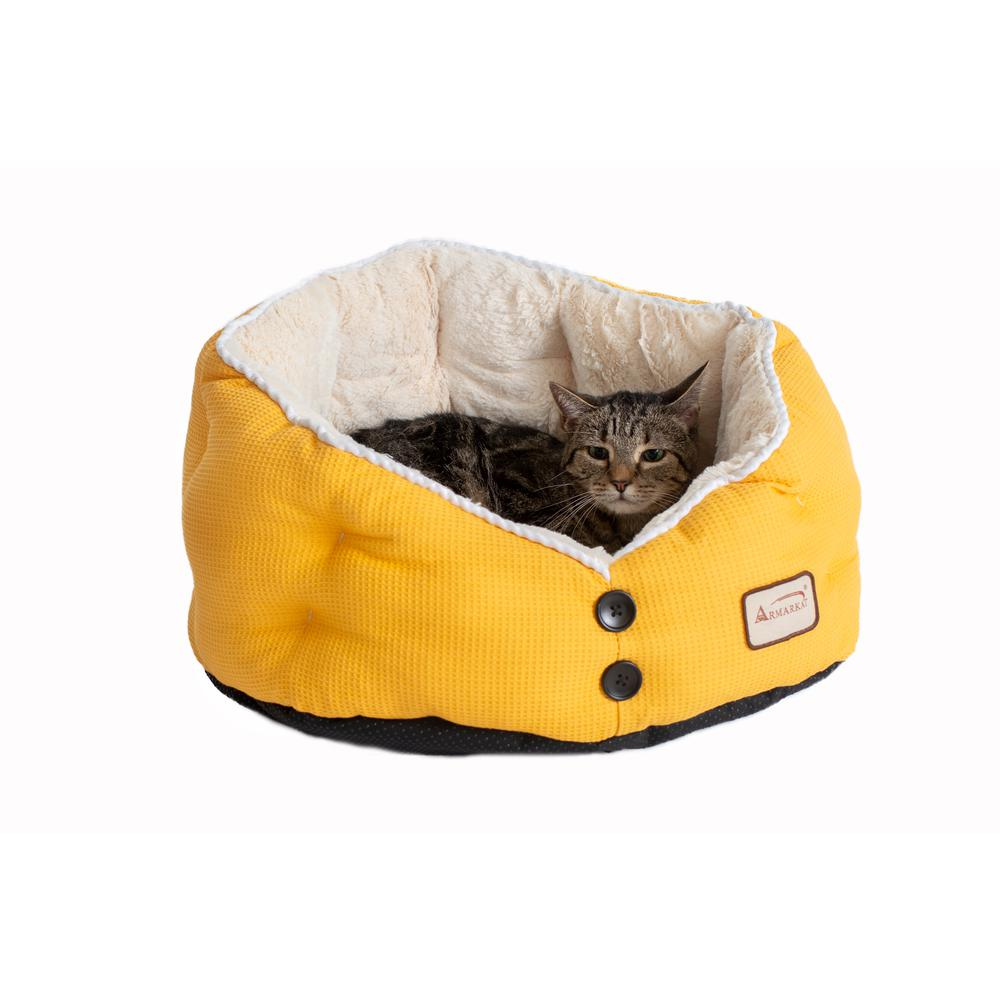 Armarkat Cat Bed Model C75HMB/MH Gold Waffle and White. Picture 5