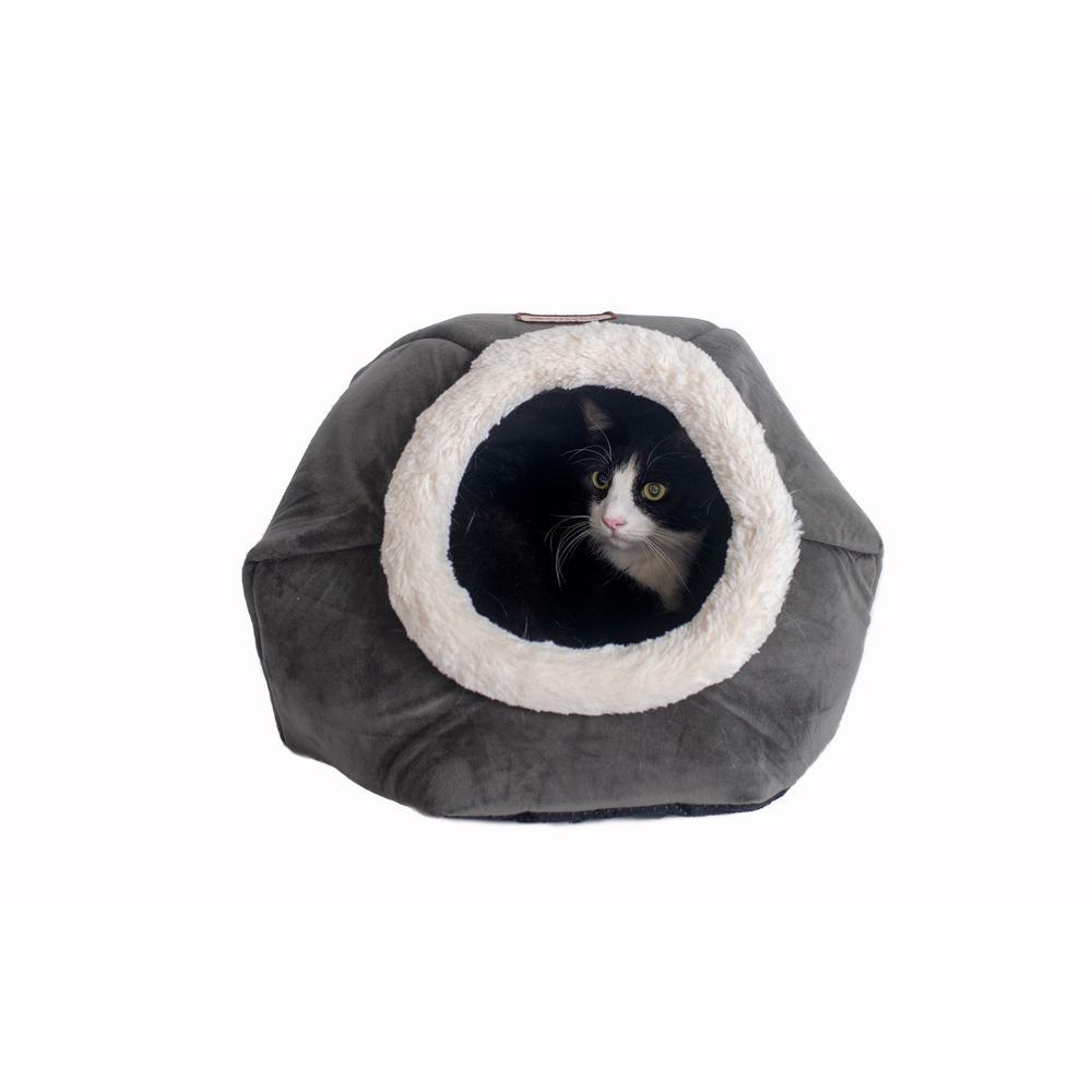 Armarkat Cat Bed Model C80CSH/MB Gray Velvet. Picture 3