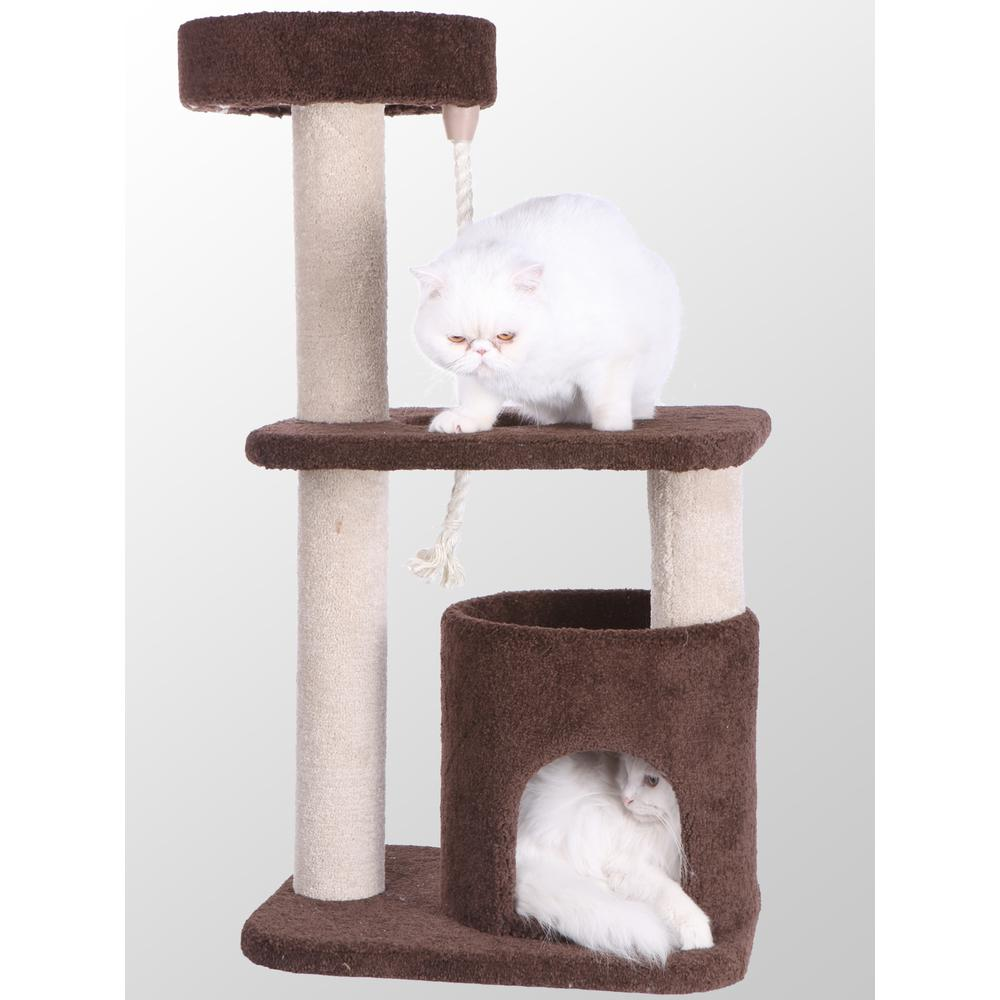 Armarkat Model F3703 Premium Carpeted Cat Tree, Jackson Galaxy Approved, Three Levels Plus Playhouse. Picture 1