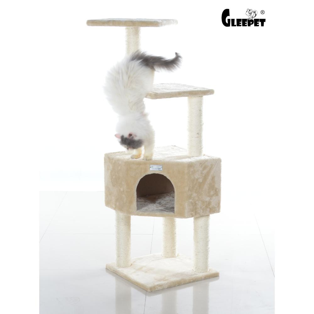 GleePet Model GP78480321 48-Inch Cat Tree in Beige with Perch and Playhouse. Picture 1