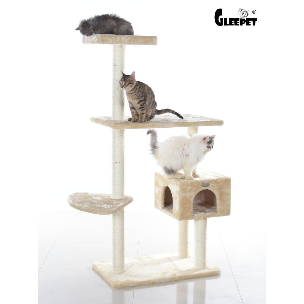 GleePet Model GP78560321 57-Inch Cat Tree in Beige with Playhouse and Perch. Picture 1