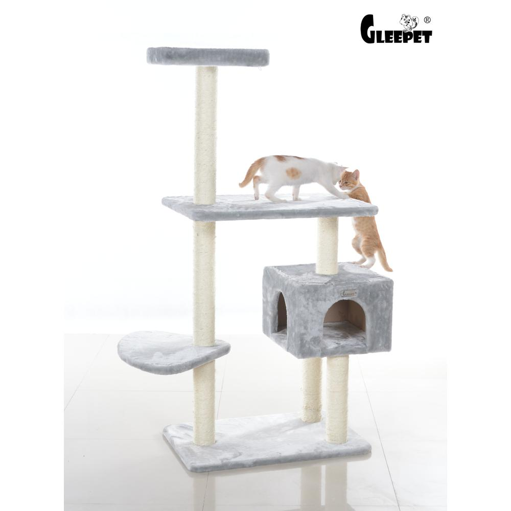 GleePet Model  GP78560322 57-Inch Cat Tree in Silver Gray with Condo and Perch. Picture 1