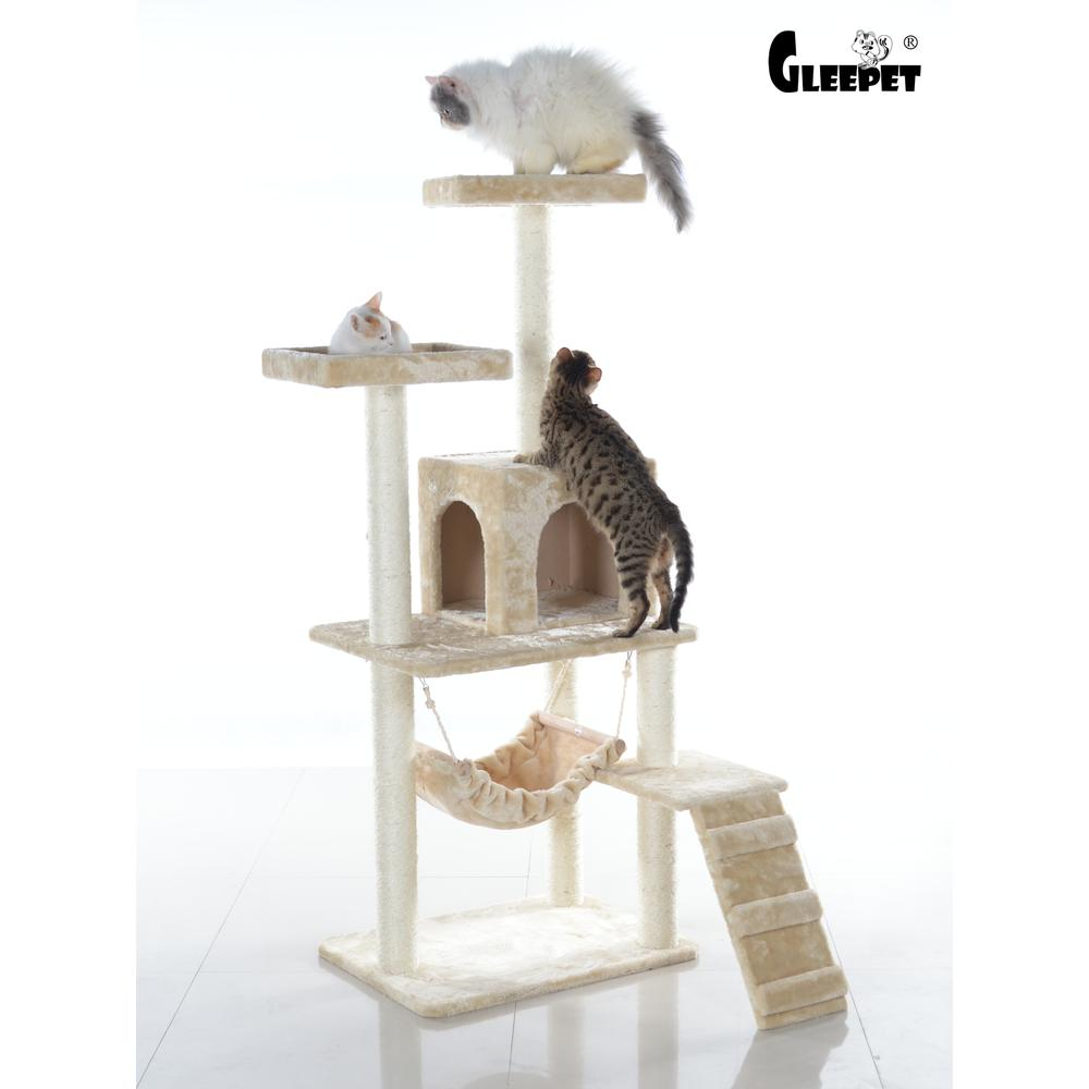 GleePet Model GP78570921 57-Inch Cat Tree in Beige with Perches, Running Ramp, Condo, and Hammock. Picture 1