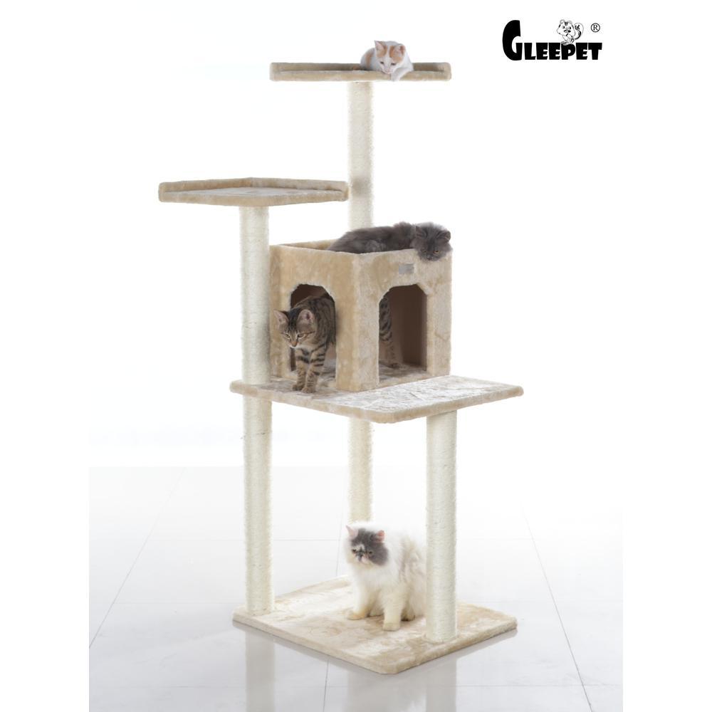 GleePet Model GP78571021 57-Inch Cat Tree in Beige with Two-Door Condo. Picture 1