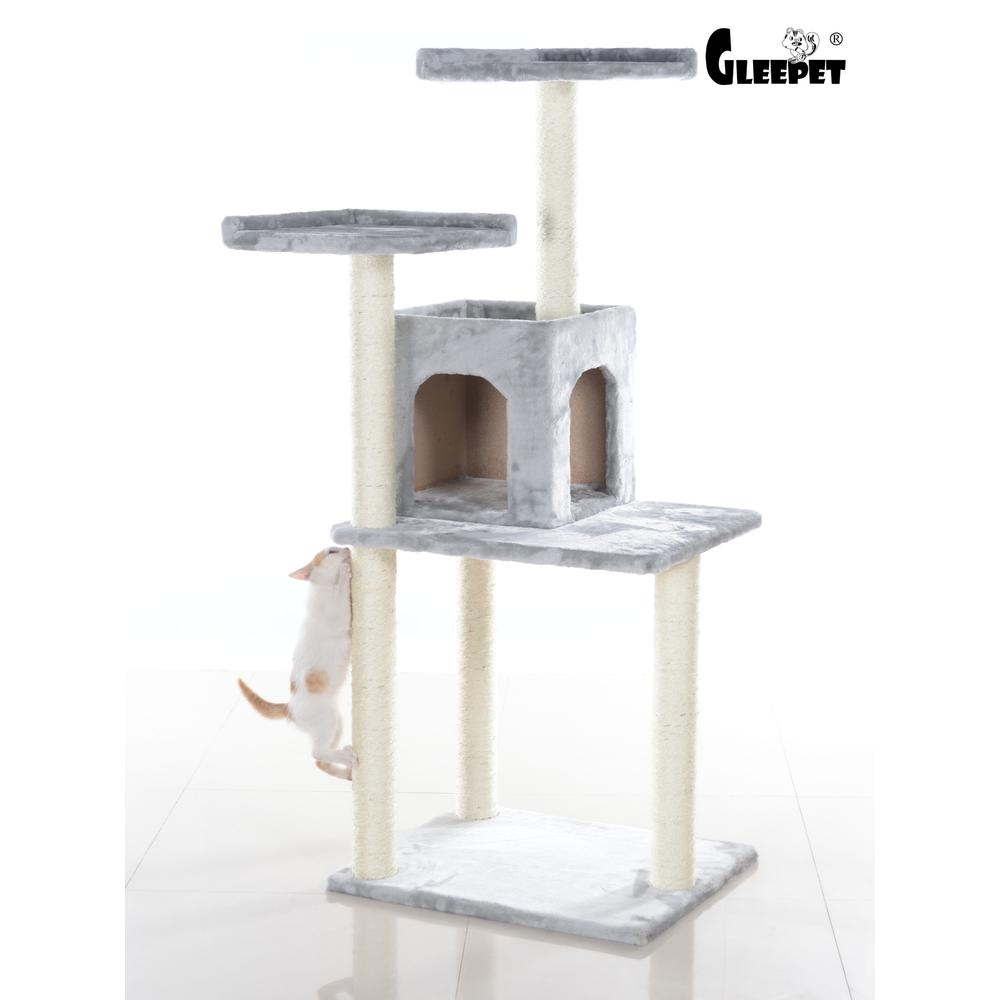 GleePet Model GP78571022 57-Inch Cat Tree in Silver Gray with Two-Door Condo. Picture 1