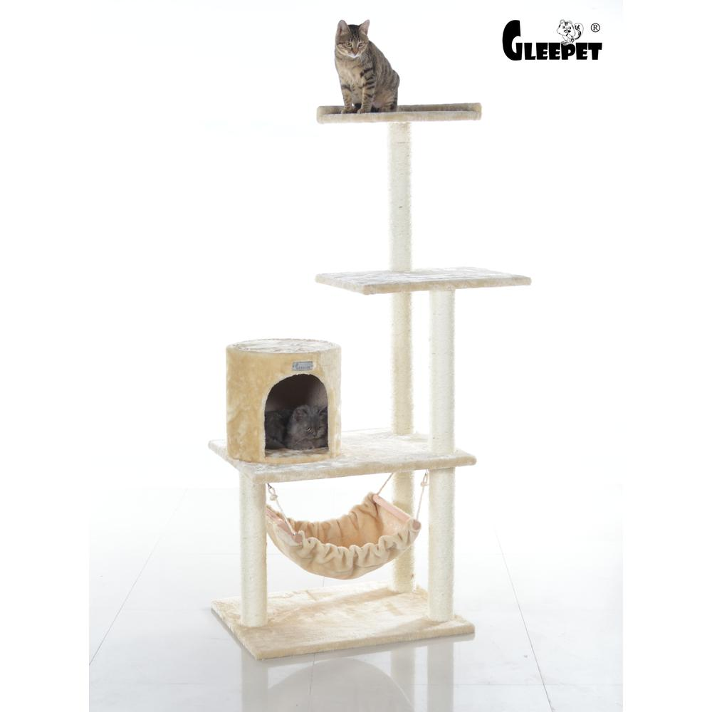 GleePet Model GP78590221 59-Inch Cat Tree in Beige with Hammock and Round Condo. Picture 1