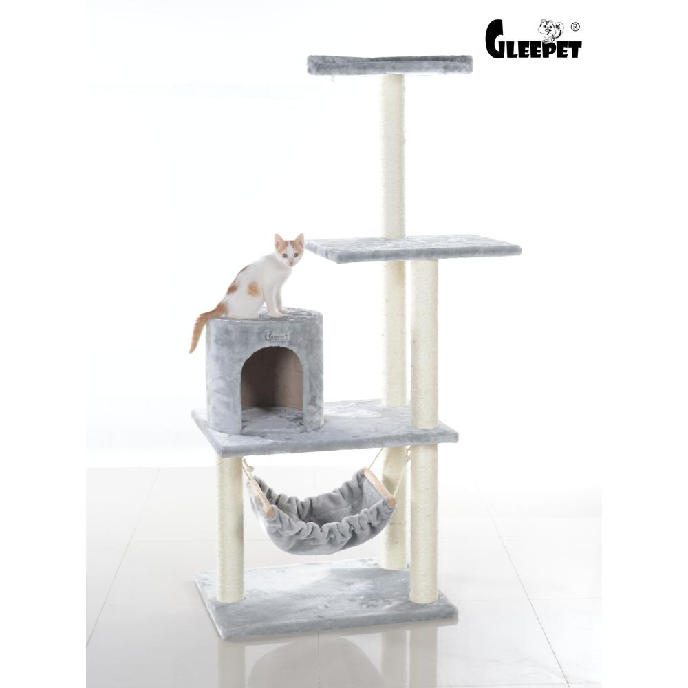 GleePet Model GP78590222 59-Inch Cat Tree in Silver Gray with Hammock and Round Condo. Picture 1