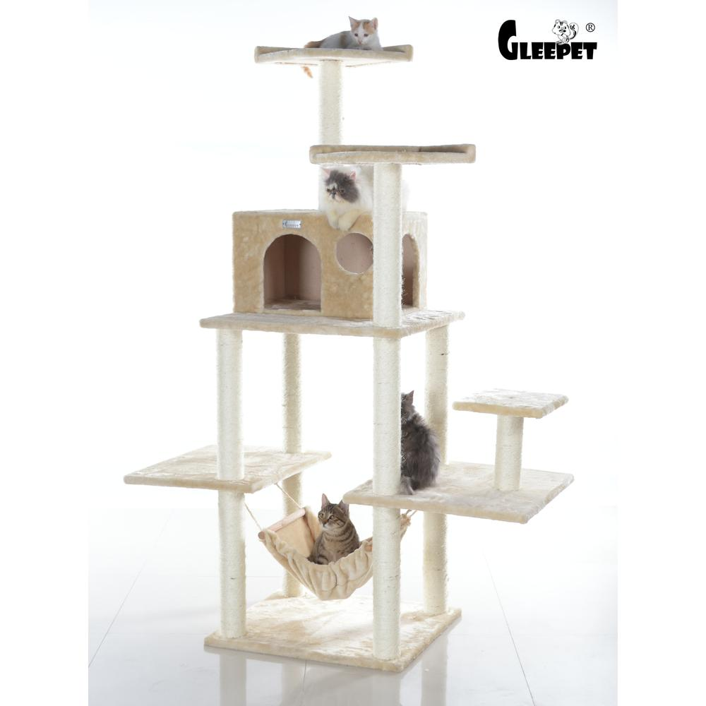 GleePet Model GP78680621 68-Inch Cat Tree in Beige with Five Levels, Hammock, Condo. Picture 1