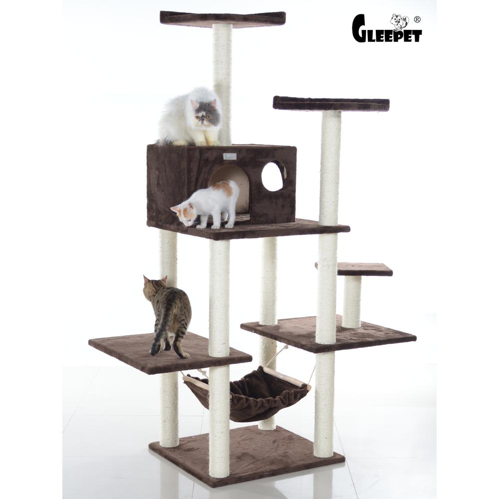 GleePet Model GP78680623 68-Inch Cat Tree in Coffee Brown with Five Levels, Condo, Hammock. Picture 1