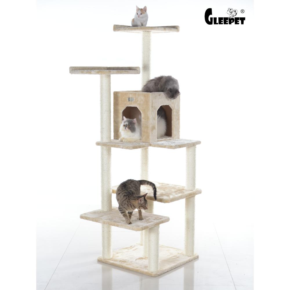 GleePet Model GP78680721 66-Inch Cat Tree in Beige with Two Perches, Condo, Four Levels. Picture 1