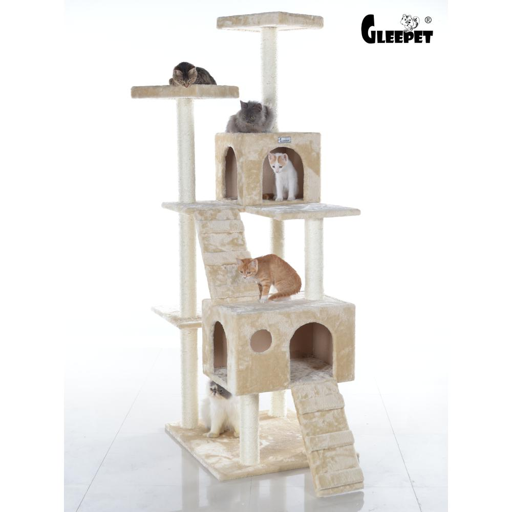 GleePet Model GP78700621 70-Inch Cat Tree in Beige with Two Ramps & Condos. Picture 1
