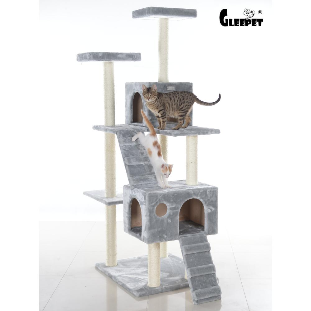 GleePet Model GP78700622 70-Inch Cat Tree in Silver Gray with Two Condos & Ramps. Picture 1