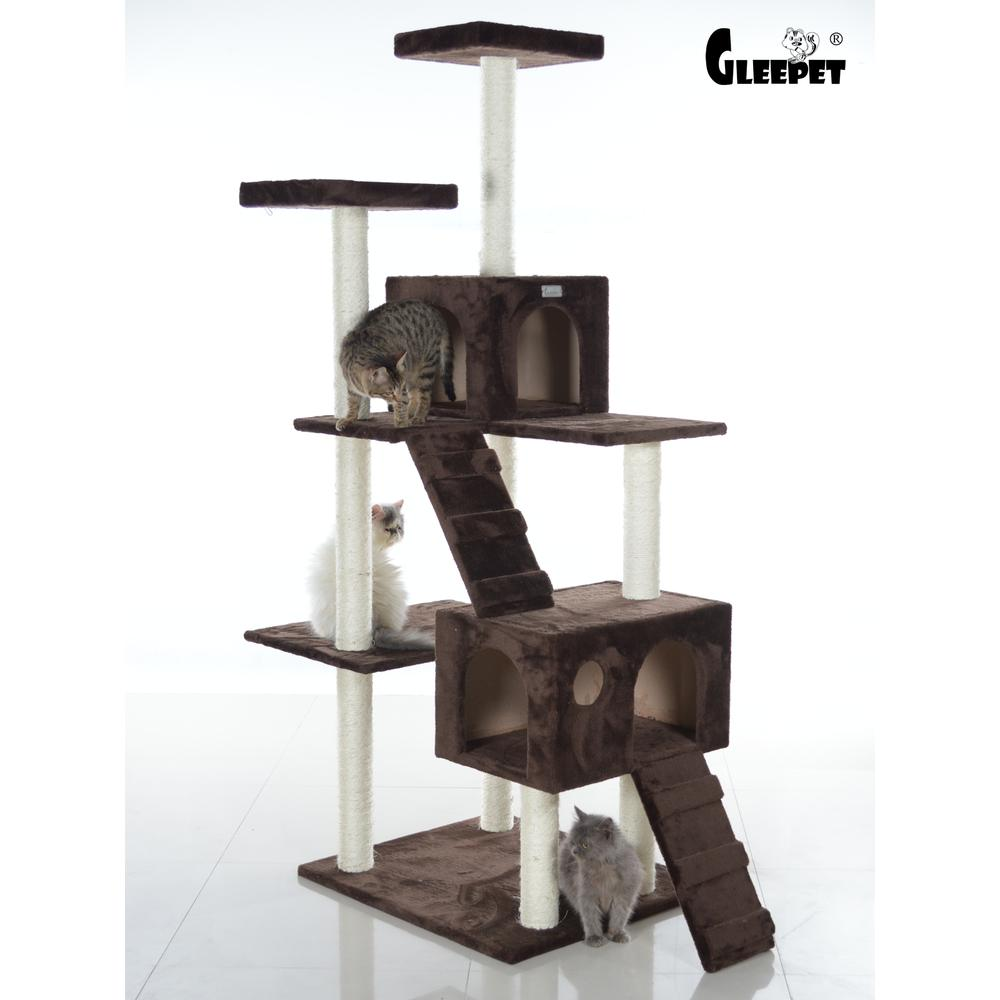 GleePet Model GP78700623 70-Inch Cat Tree in Coffee Brown with Two Ramps & Condos. Picture 1