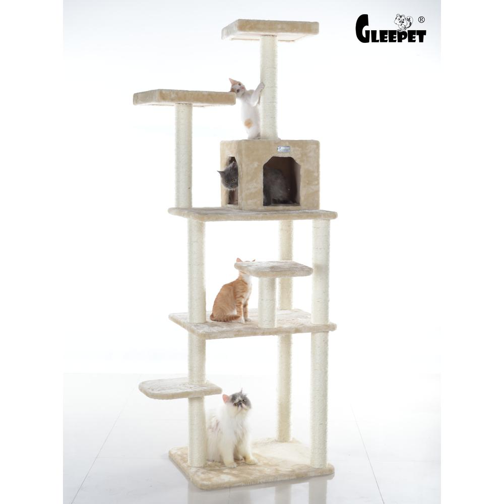 GleePet Model GP78740821 74-Inch Cat Tree with Seven Levels, Beige. Picture 1