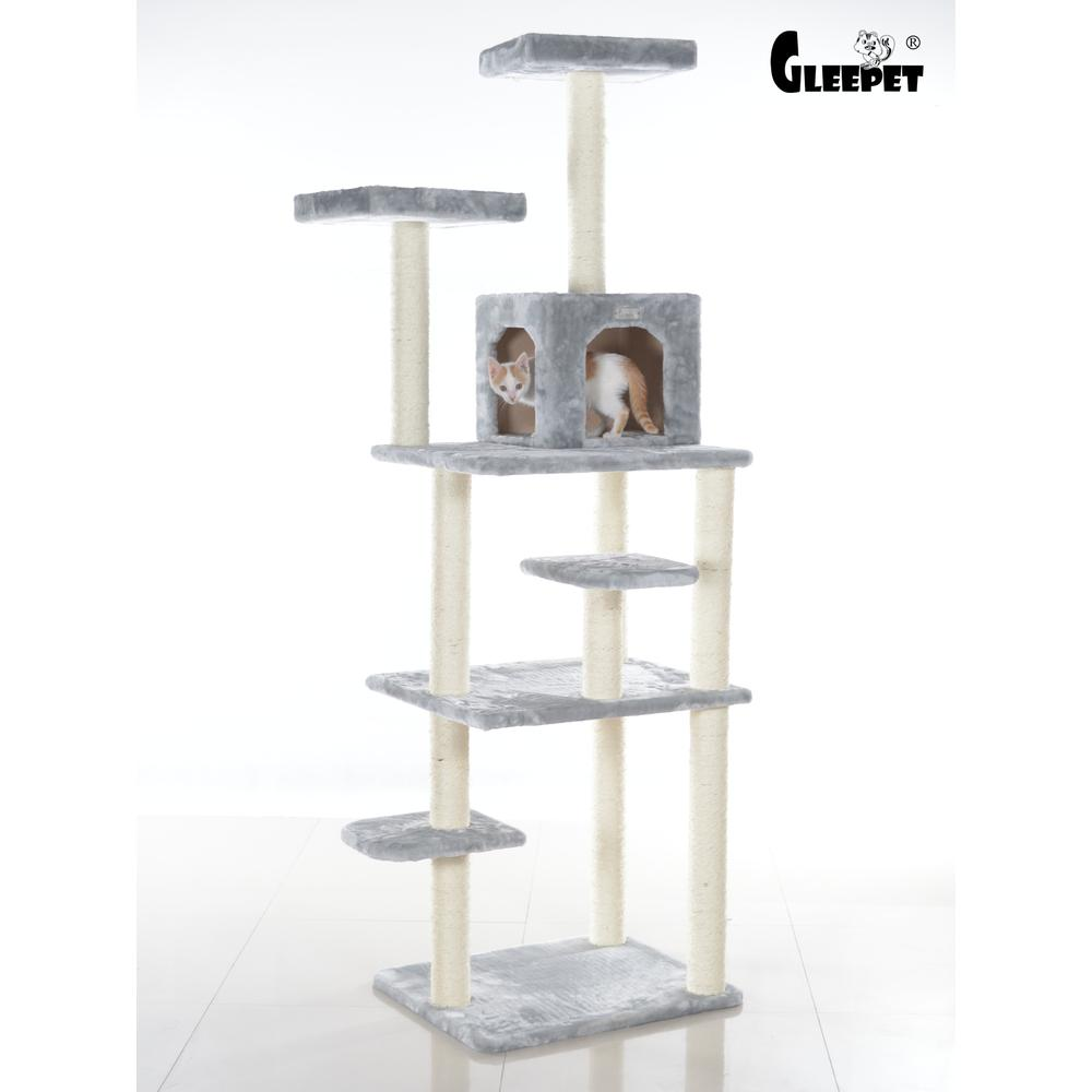 GleePet Model GP78740822 74-Inch Cat Tree  with Seven Levels, Silver Gray. Picture 1