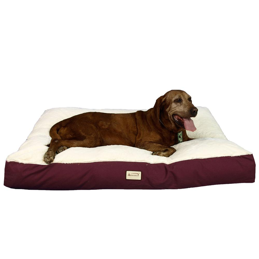 Armarkat Model M02HJH/MB-X Extra Large Pet Bed Mat with Poly Fill Cushion in Burgundy & Ivory