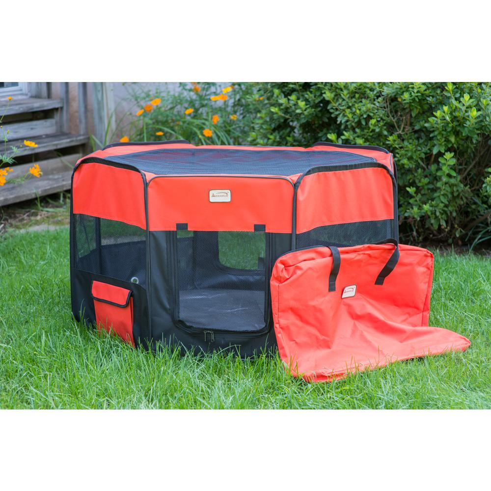 Armarkat Model PP002R-XL Portable Pet Playpen in Black and Red Combo. Picture 1