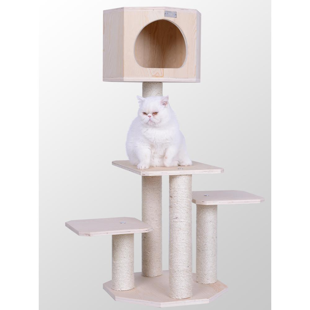 "Armarkat Premium Model S4203 Scots Pine, Solid Wood Cat Tree, 46"" Tall. Picture 1"