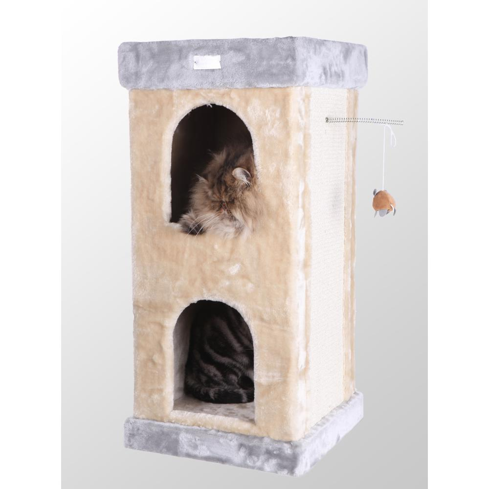 Armarkat Model X3203 Premium Cat Tree in Beige, Double Condo, Jackson Galaxy Approved. Picture 1