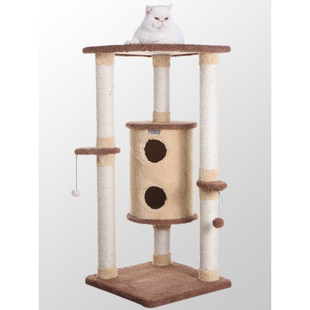 Armarkat Model X4401 Premium Cat Tree in Goldenrod and Tan, Jackson Galaxy Approved, Multi Levels with Perch and Playhouse. Picture 1