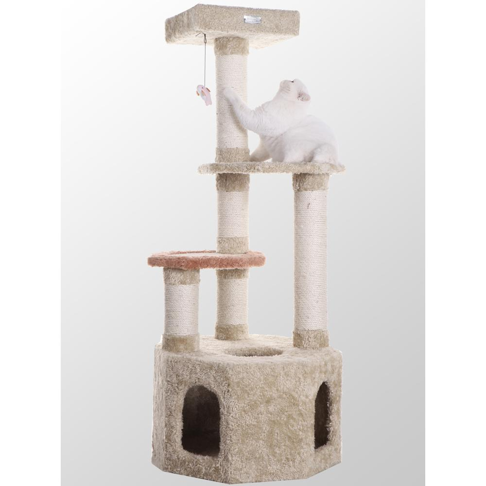 Armarkat Model X5703 Premium Cat Tree in Khaki, Jackson Galaxy Approved, Multi Levels with Perch and Playhouse. Picture 1
