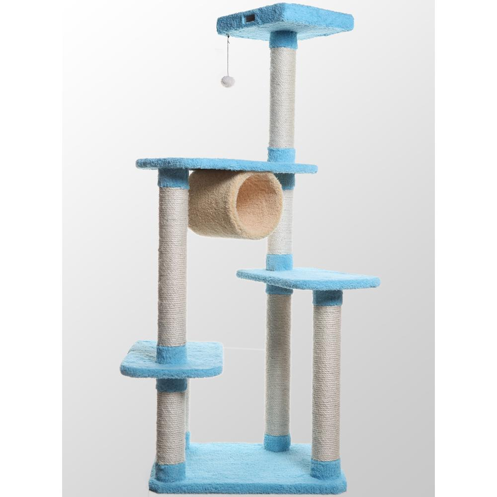 Armarkat Model X6105 Premium Cat Tree in Sky Blue, Jackson Galaxy Approved, Four Levels with Perch and Tunnel. Picture 1