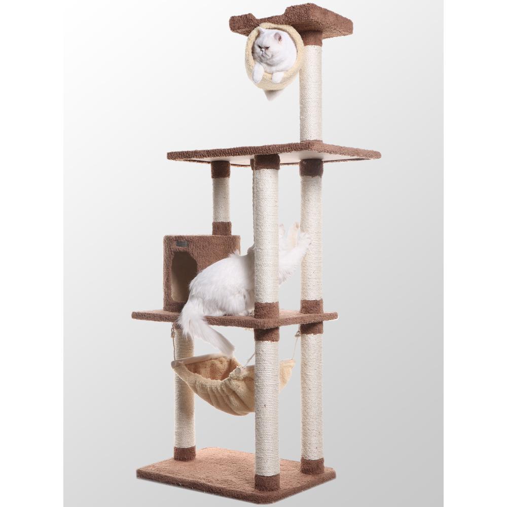 Armarkat Model X7001 Premium Cat Tree in Tan, Jackson Galaxy Approved, Multi Levels with Rope Swing, Tunnel, Hammock, Condo and Perch. Picture 1
