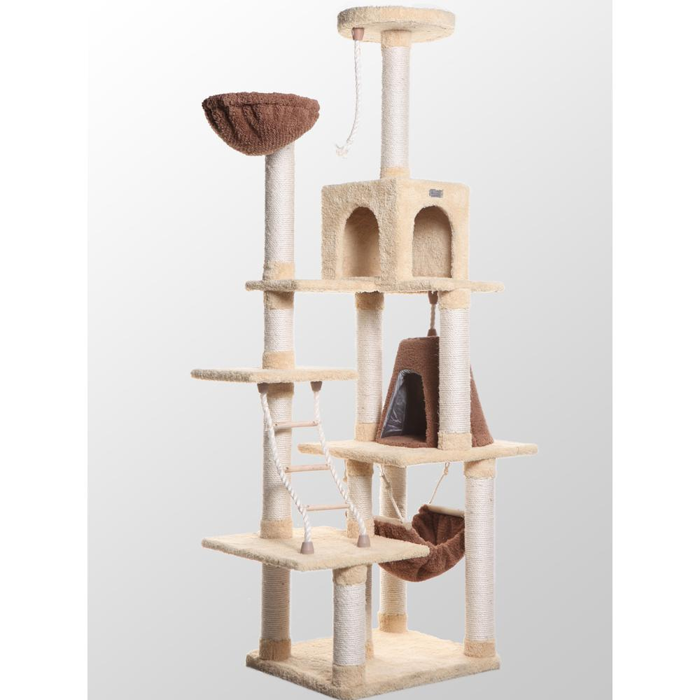 Armarkat Model X7805 Premium Cat Tree in Goldenrod, Jackson Galaxy Approved, Six Levels with Perch, Rope Ladder, Condo, Basket, and Teepee. Picture 1