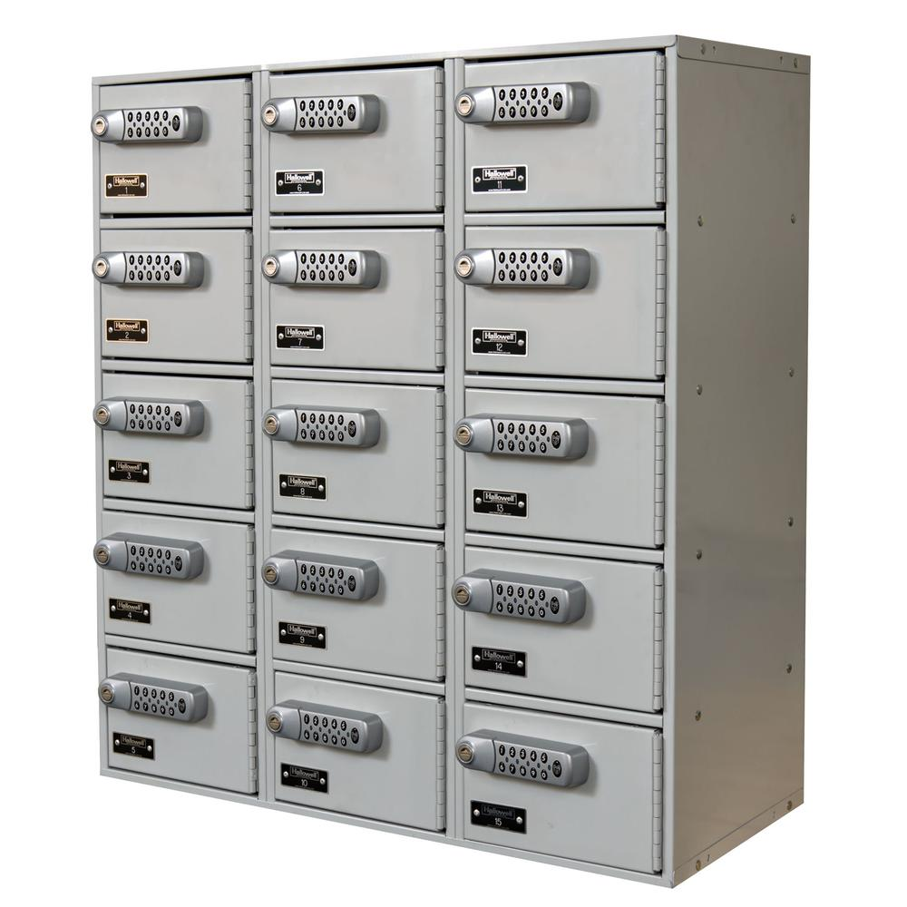"Hallowell Cell Phone/Tablet Locker, 27""W x 12""D x 30-1/2""H, 711 Light Gray, 5-Tier, 3-Wide, Assembled"