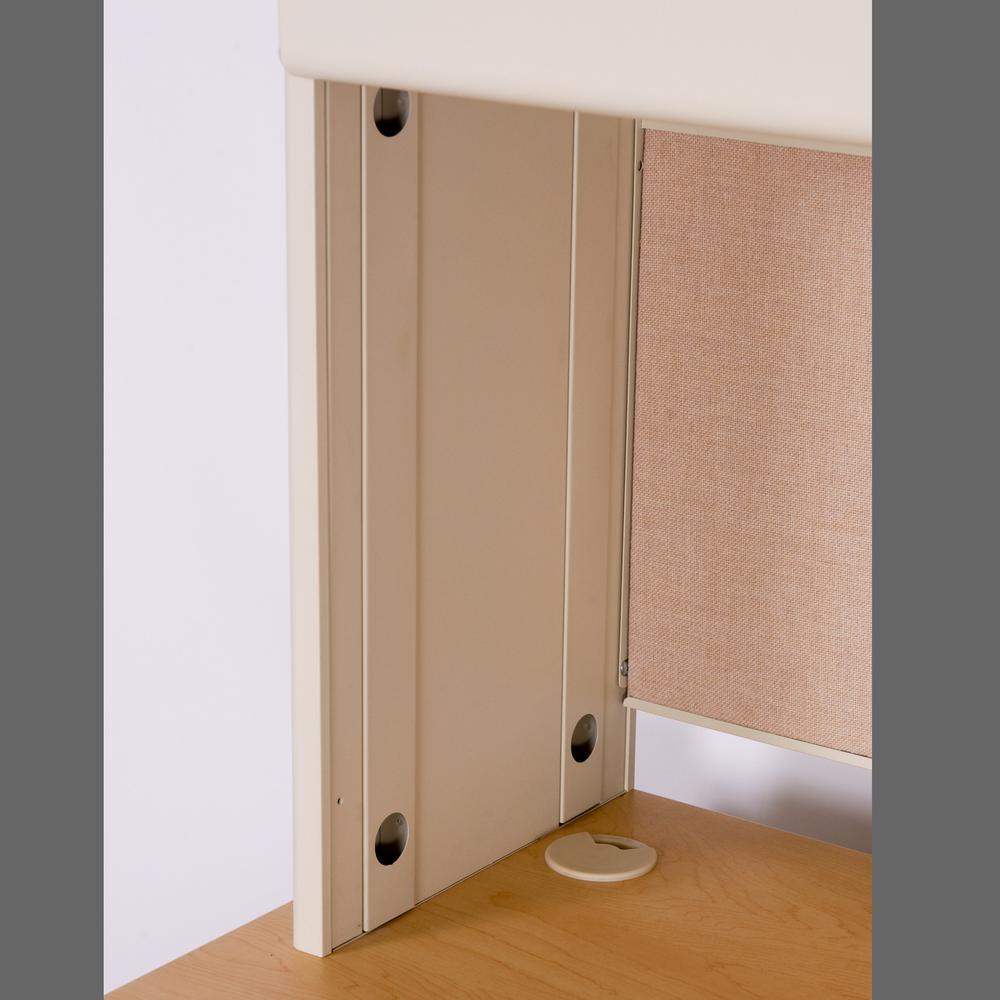"Pronto 72"" Double File Desk with Flipper Door Cabinet, 72W x 30D:Black/Mahogany, Haze. Picture 3"