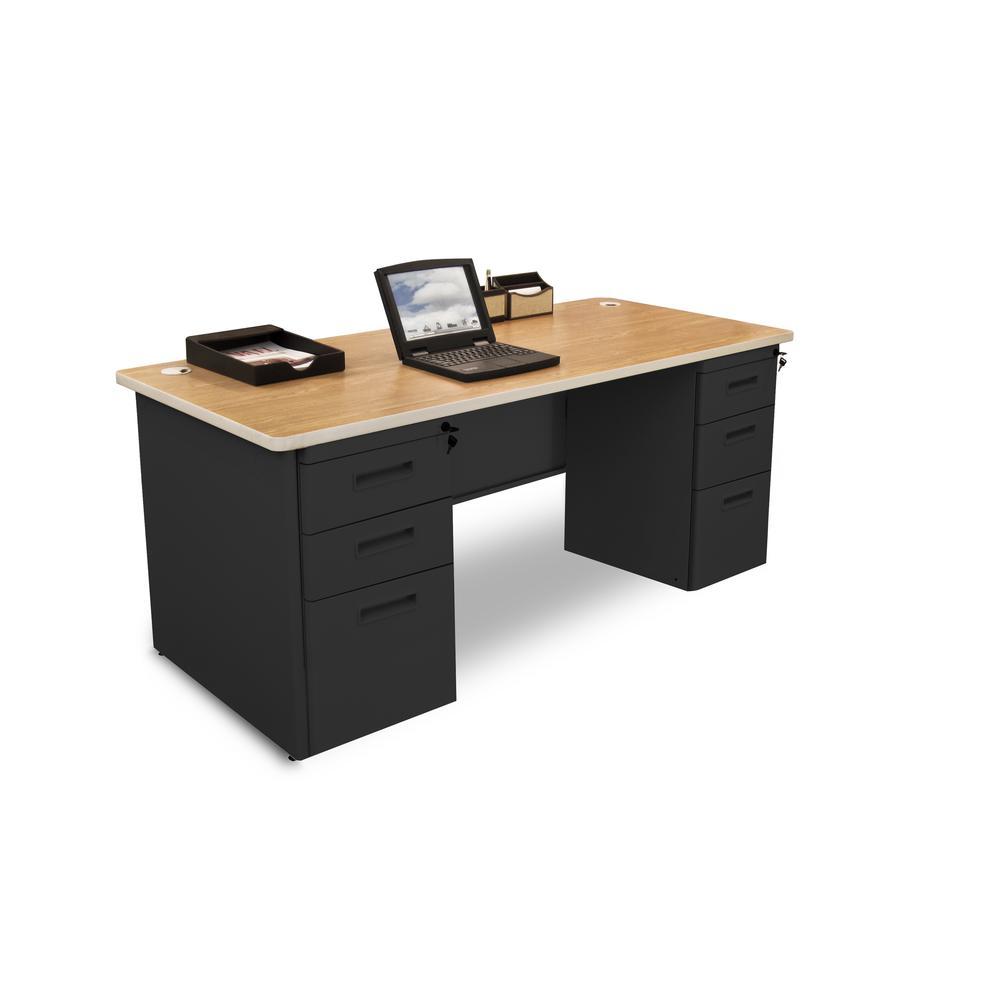 Pronto Double Full Pedestal Desk, 66W x 30D - Oak Laminate and Black Finish. Picture 1