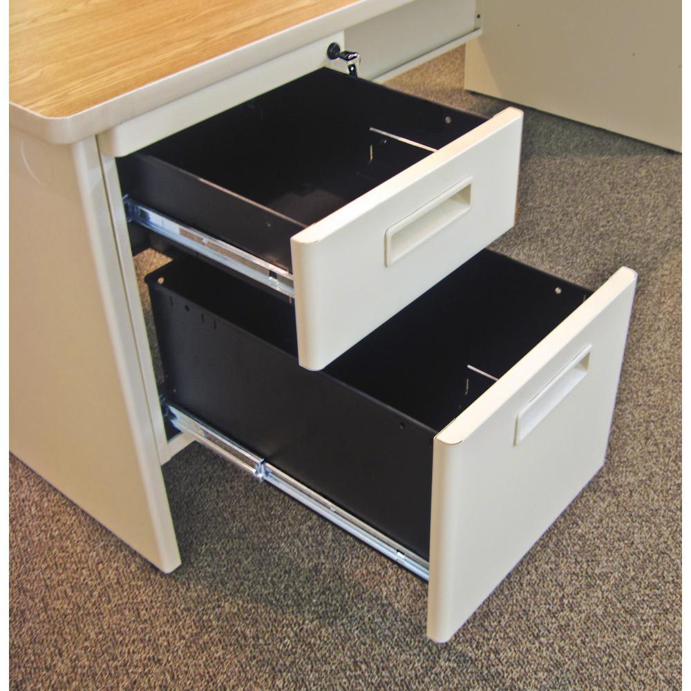 Pronto Desk with Return, Single Hanging Pedestal72W x 78D:Putty/Oak. Picture 2