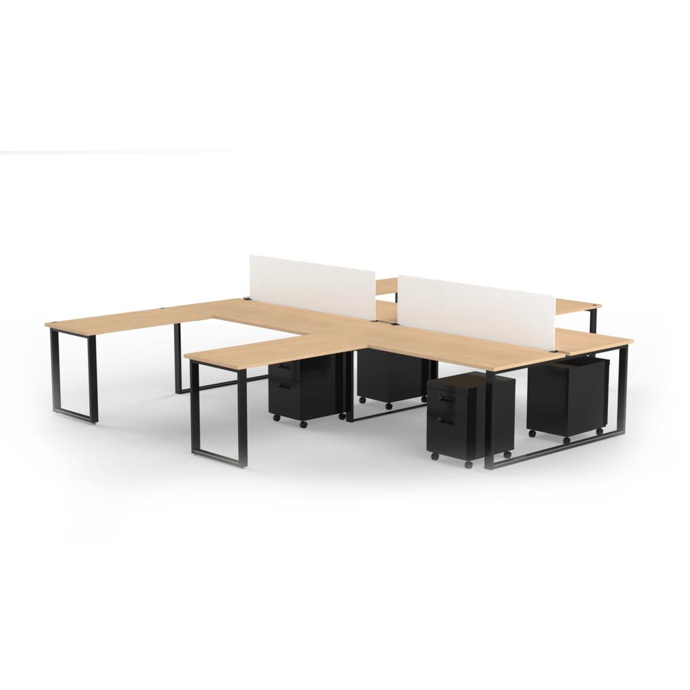 "Kensington Dusk Cabinets: 4 Pack Of 72"" X 30"" Desk With 48"" X 24"" Return, 2 Privacy"
