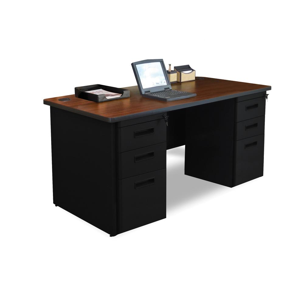 Pronto Double Full Pedestal Desk, 60W x 30D - Mahogany Laminate and Black Finish. Picture 1