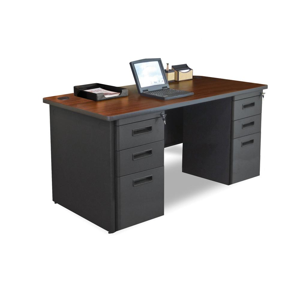Pronto Double Full Pedestal Desk, 60W x 30D - Mahogany Laminate and Dark Neutral Finish. The main picture.