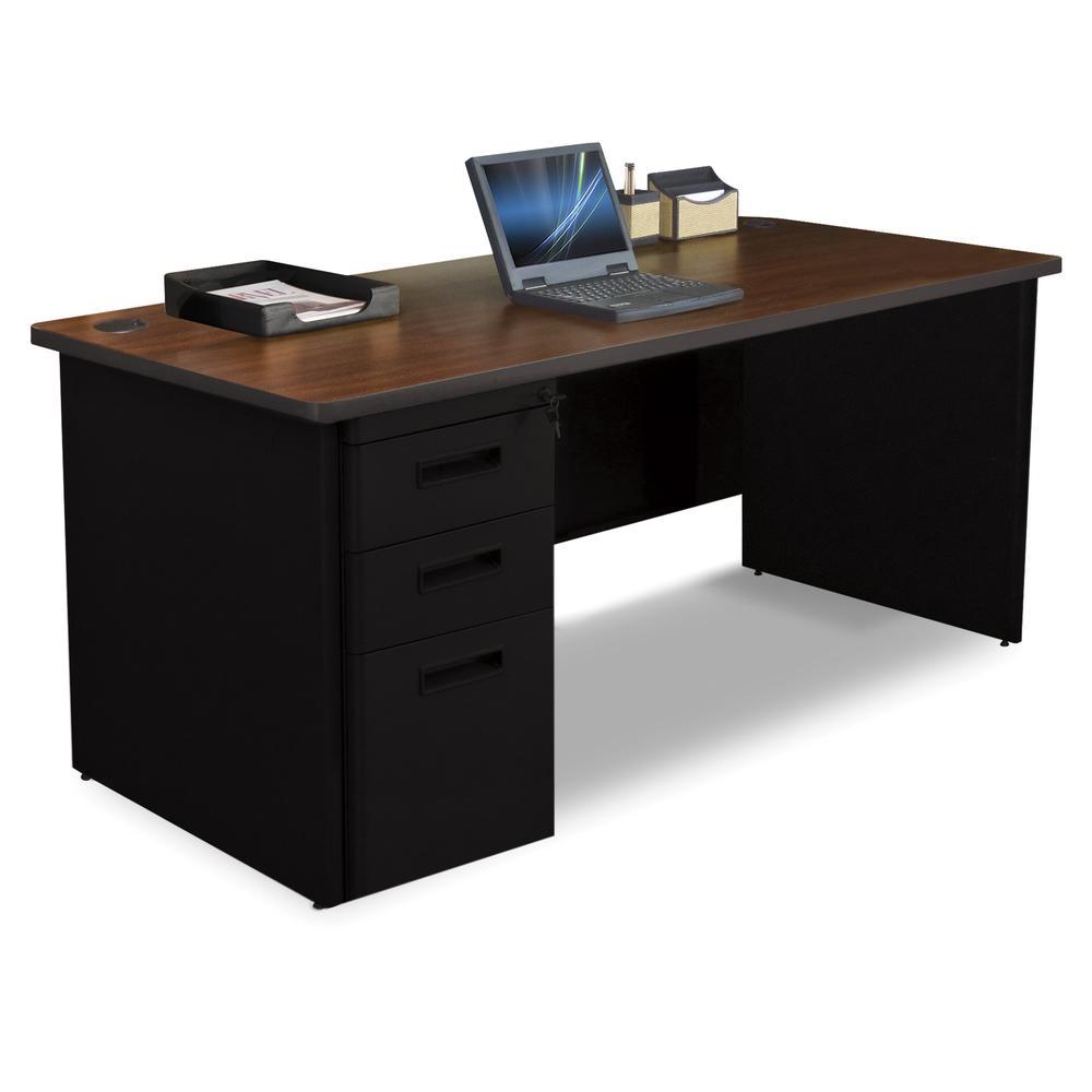 Pronto Single Full Pedestal Desk, 66W x 30D - Mahogany Laminate and Black Finish. Picture 1
