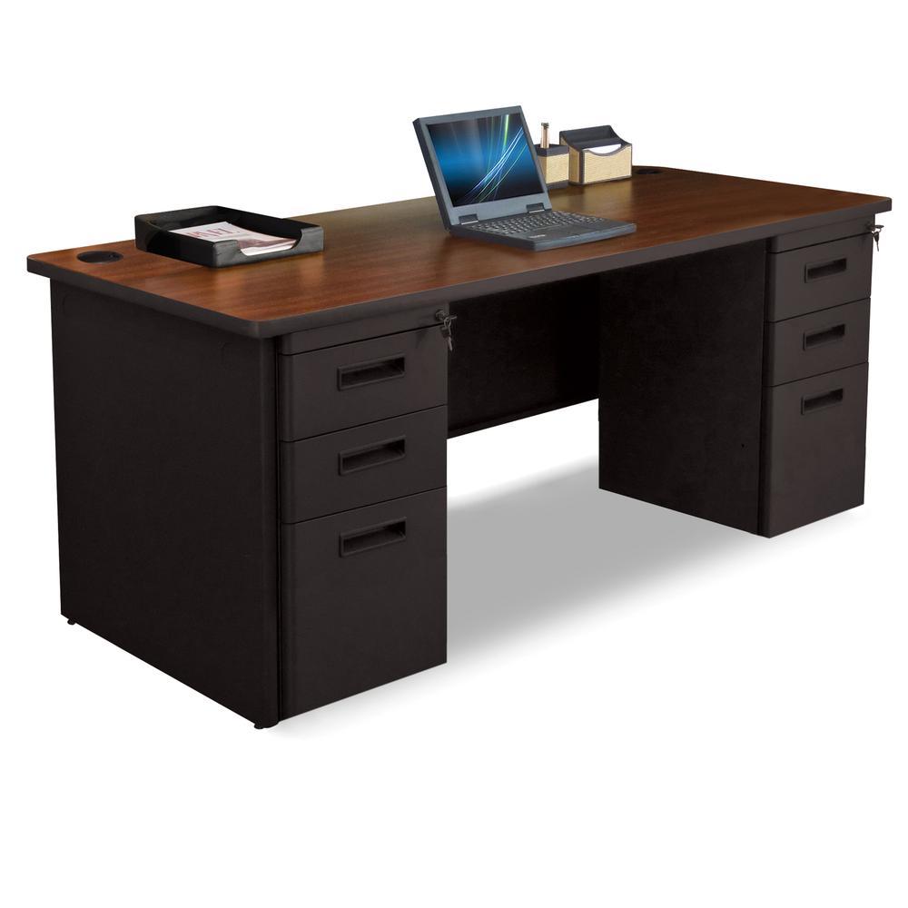 Pronto Double Full Pedestal Desk, 72W x 30D - Mahogany Laminate and Dark Neutral Finish. Picture 1