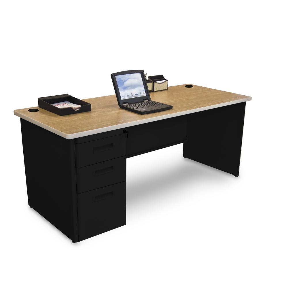 Pronto Single Full Pedestal Desk, 72W x 30D - Oak Laminate and Black Finish. Picture 1