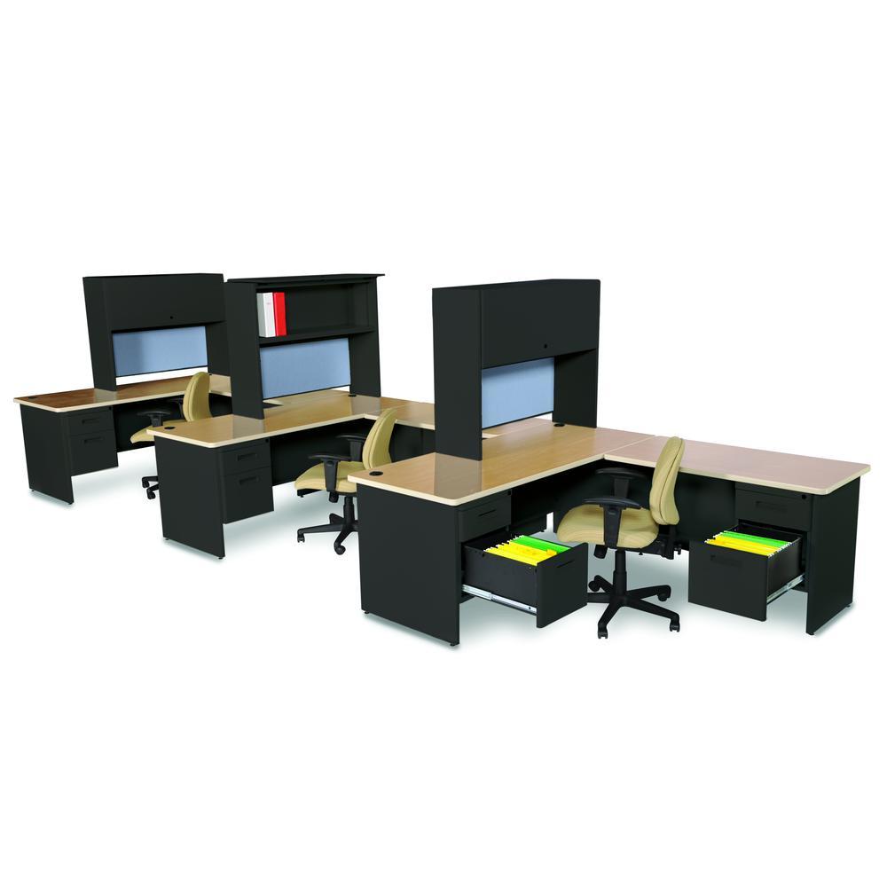Pronto Desk with Return and Pedestal, 72W x 78D:Black/Oak, Basin. Picture 1