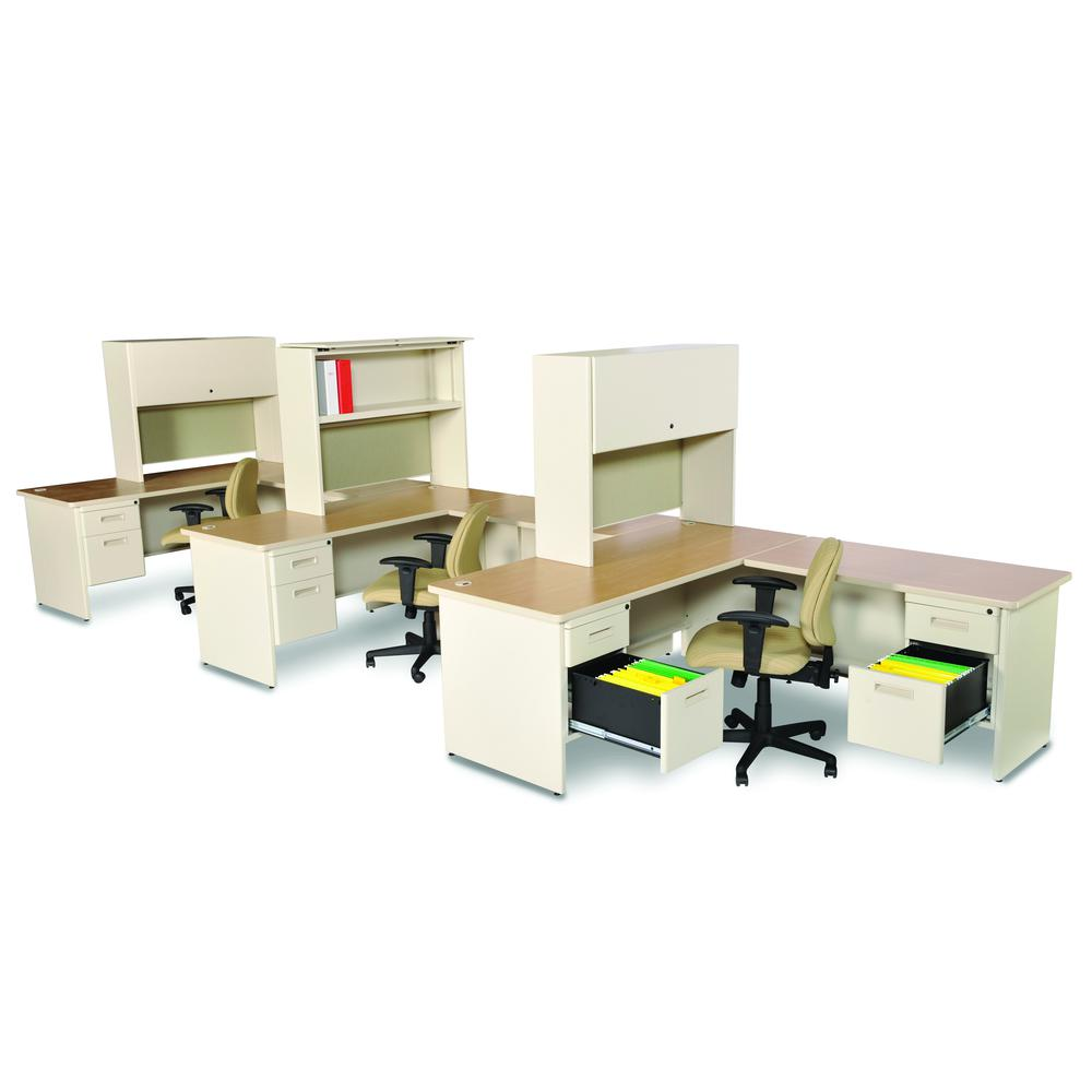 Pronto Desk with Return and Pedestal, 72W x 78D:Putty/Windblown. Picture 1