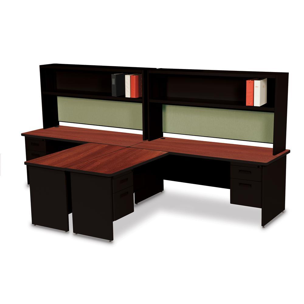 """Pronto 72"""" Double File Desk with Flipper Door Cabinet, 72W x 30D:Black/Mahogany, Palmetto. Picture 1"""