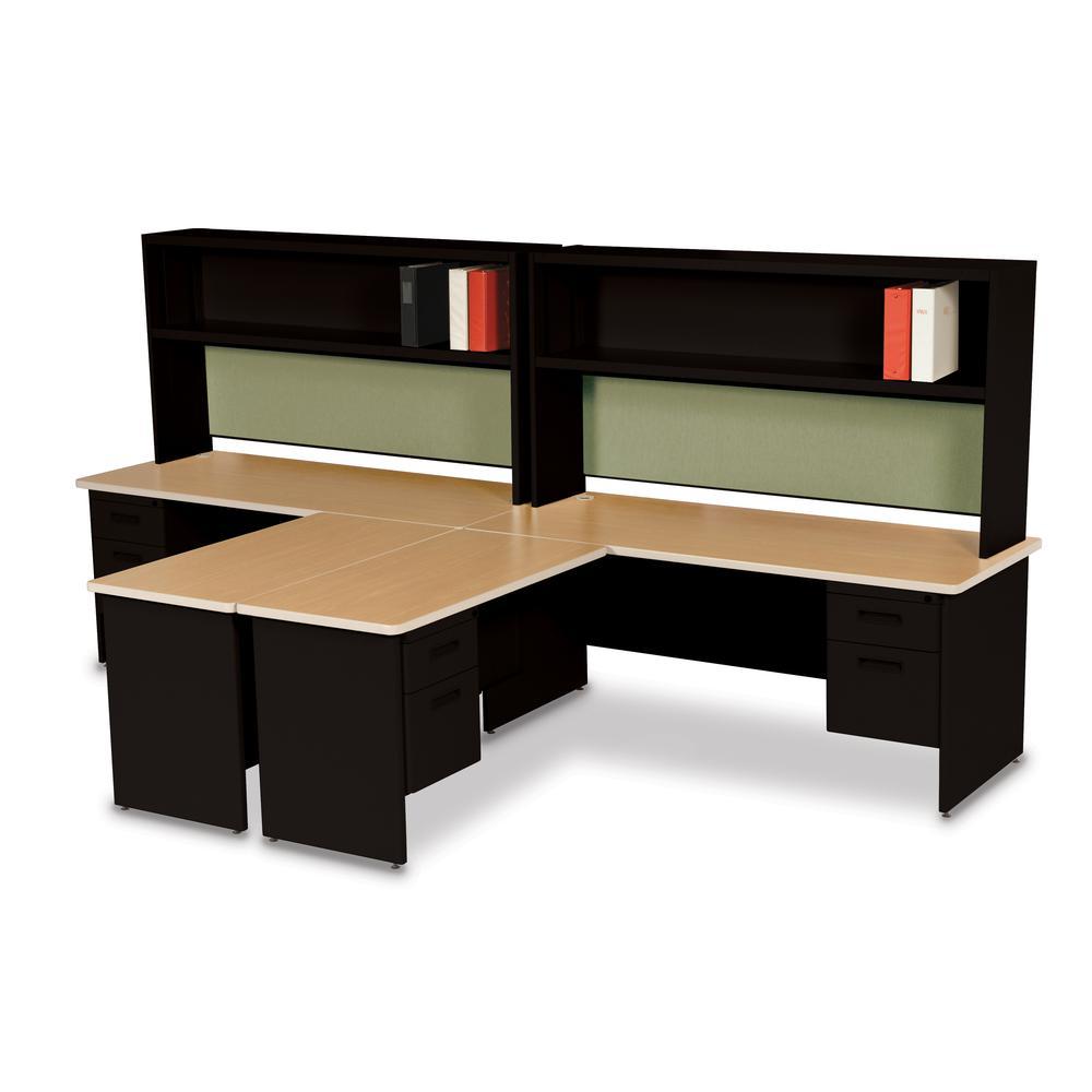 "Pronto 72"" Double File Desk with Flipper Door Cabinet, 72W x 30D:Black/Mahogany, Haze. Picture 1"