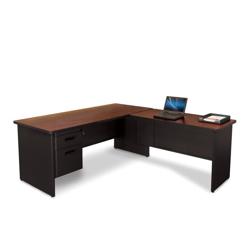 Pronto Desk with Return, 72W x 78D:Dark Neutral. Picture 1